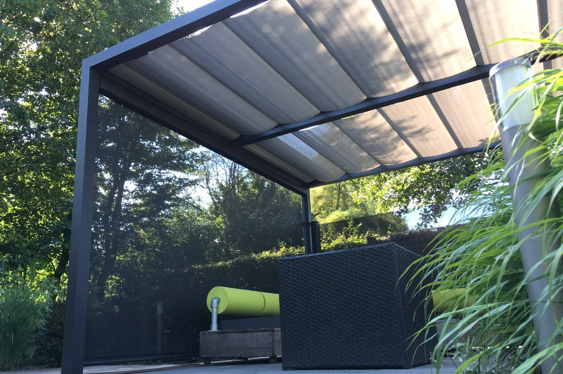 Pergola With Fabric Blinds From Roomoutdoors Ireland
